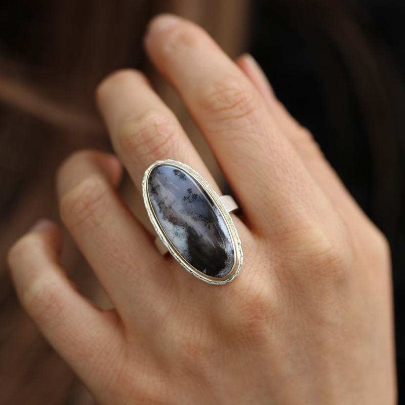 Large Vertical Dendritic Opal Silver and Gold Ring