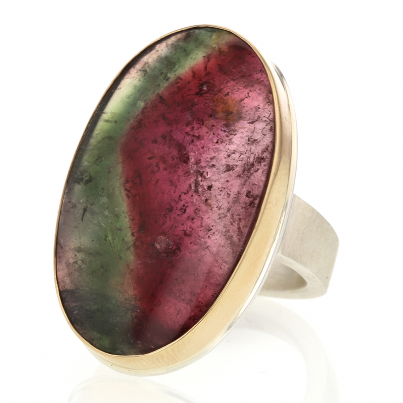 Large Vertical Watermelon Tourmaline Oval Ring