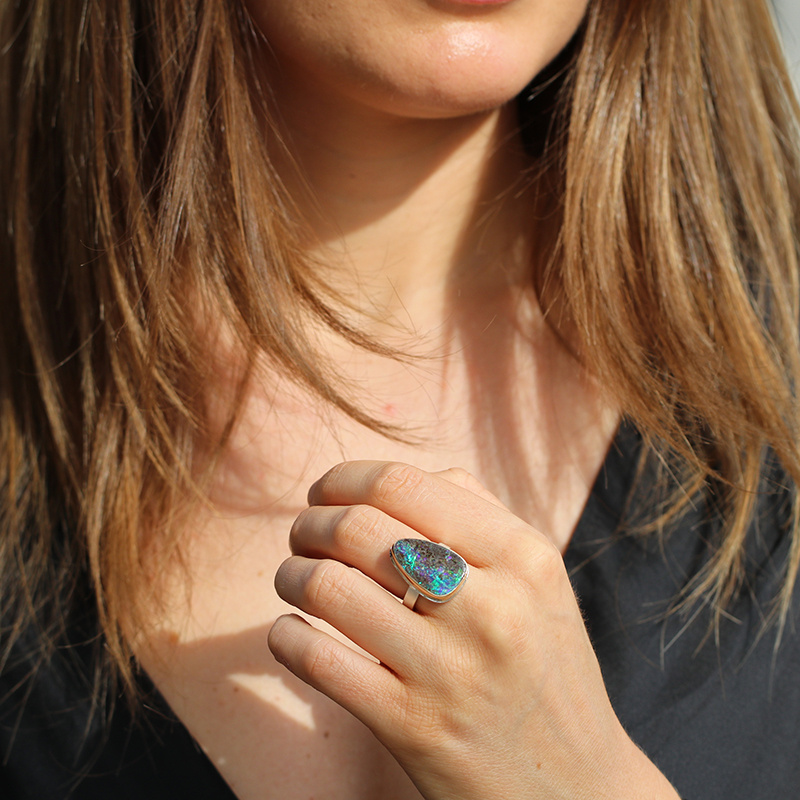 Boulder Opal Vertical Silver and Gold Ring