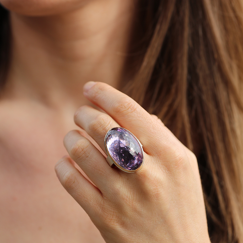 Inverted Faceted Vertical Amethyst Ring