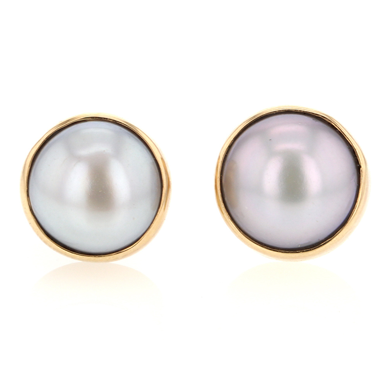 Large Cultured Pearl Post Earrings