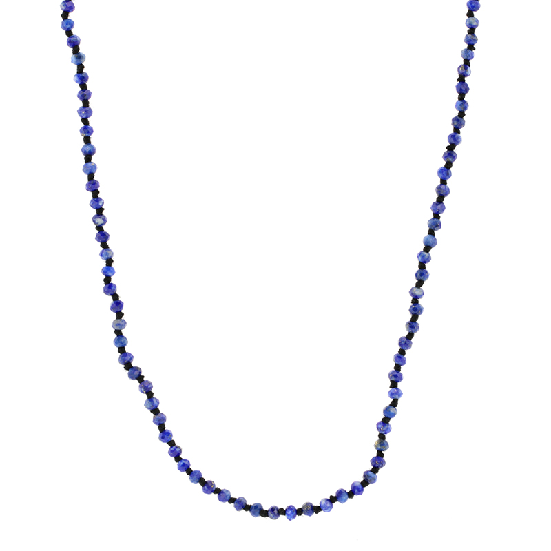 Long Lapis Faceted Necklace