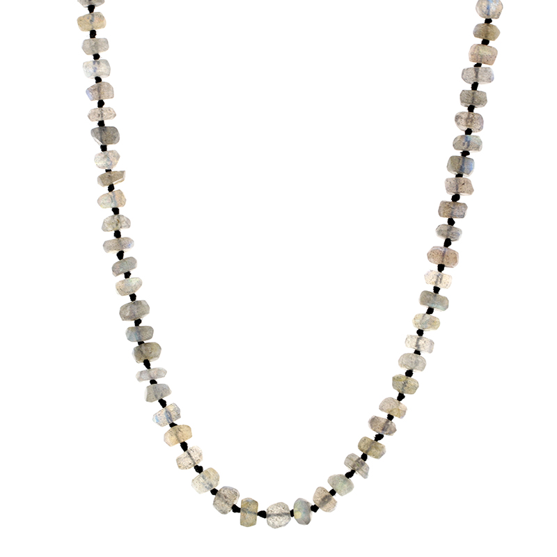 Long Labradorite 6mm Faceted Necklace