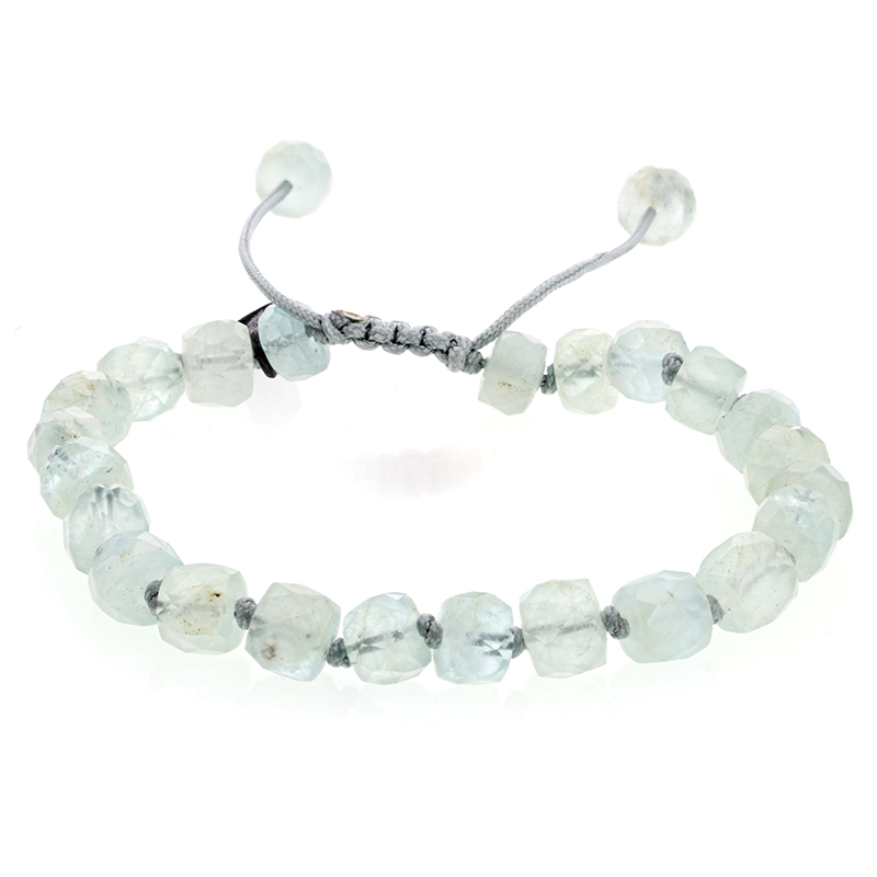 Aquamarine 8mm Faceted Bracelet