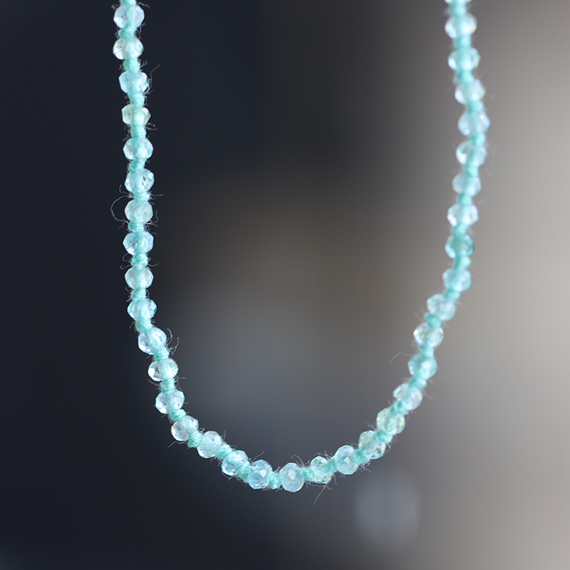 Long Aquamarine Faceted Necklace