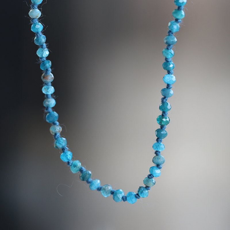 Long Apatite Faceted Necklace