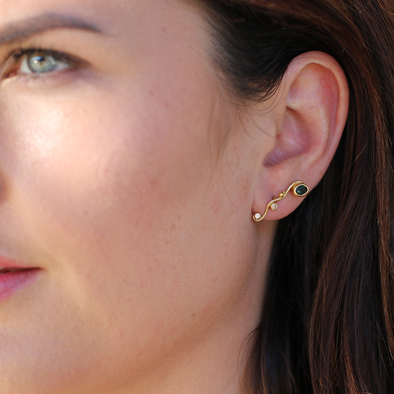 Colored Gemstone Stud Earrings