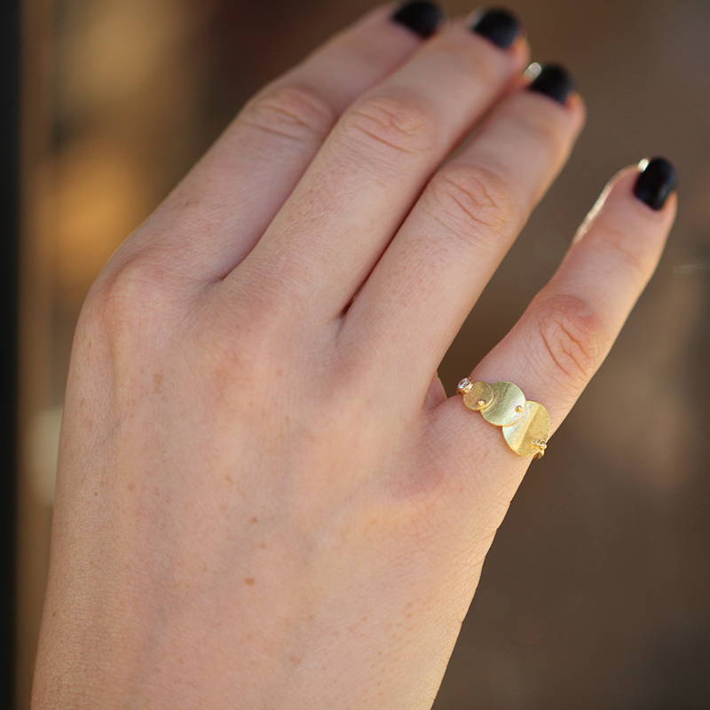 Gold Circle and Sphere Ring