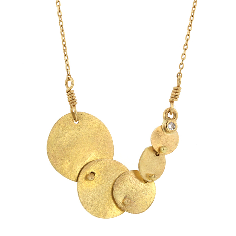 Gold Circles and Sphere Necklace