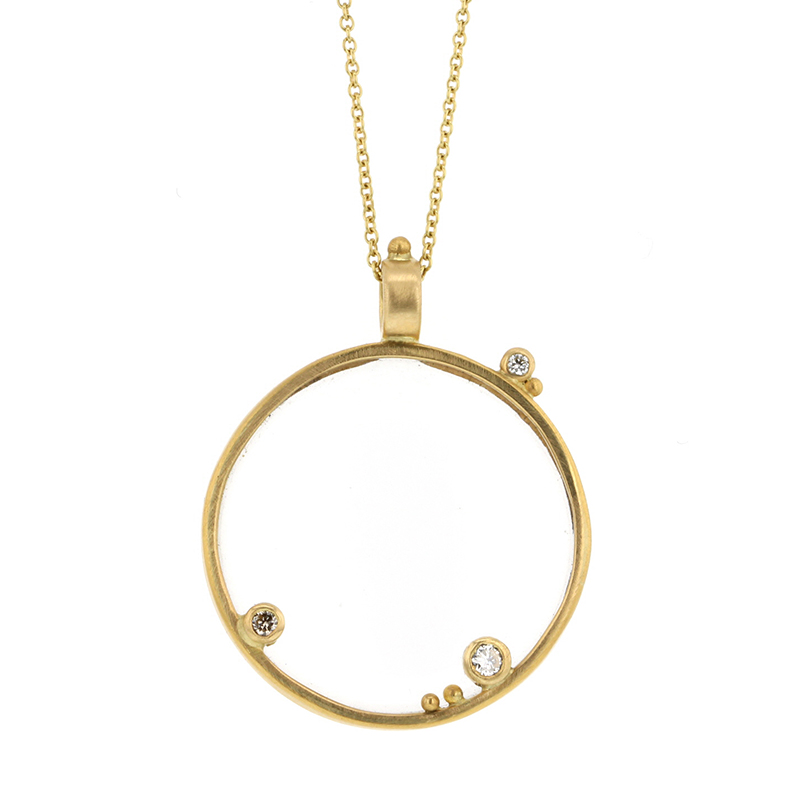 Long Monocle Gold Necklace