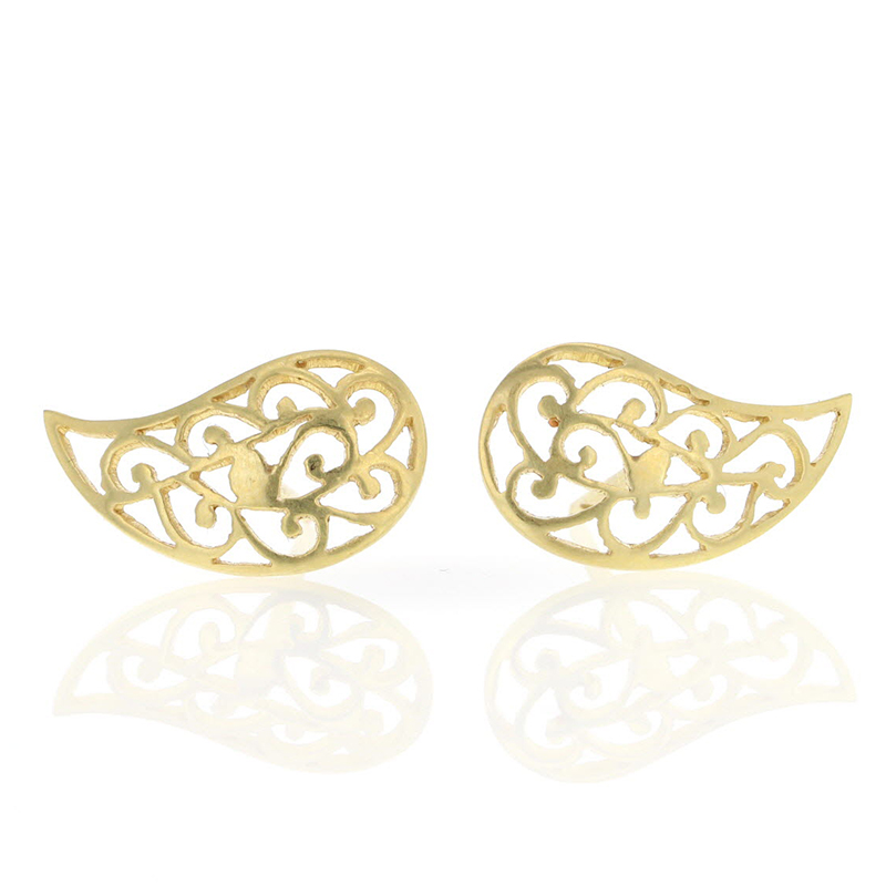 Gold Filigree Paisley Stud Earrings