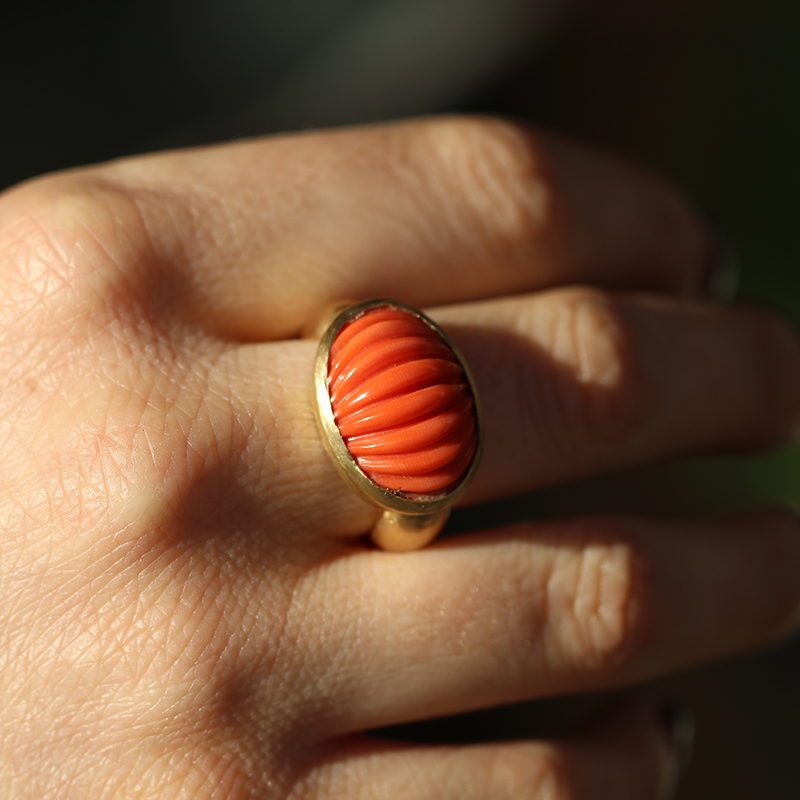 Carved Coral Gold Ring
