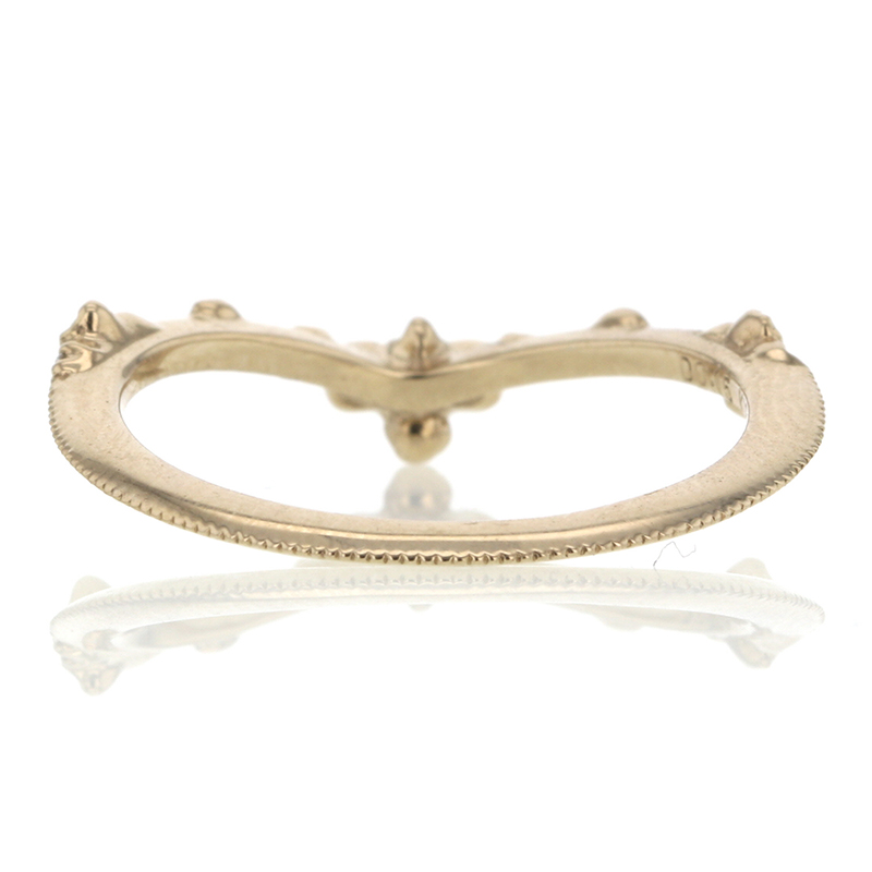 Curved Diamond Cluster 18k Beige Gold Ring
