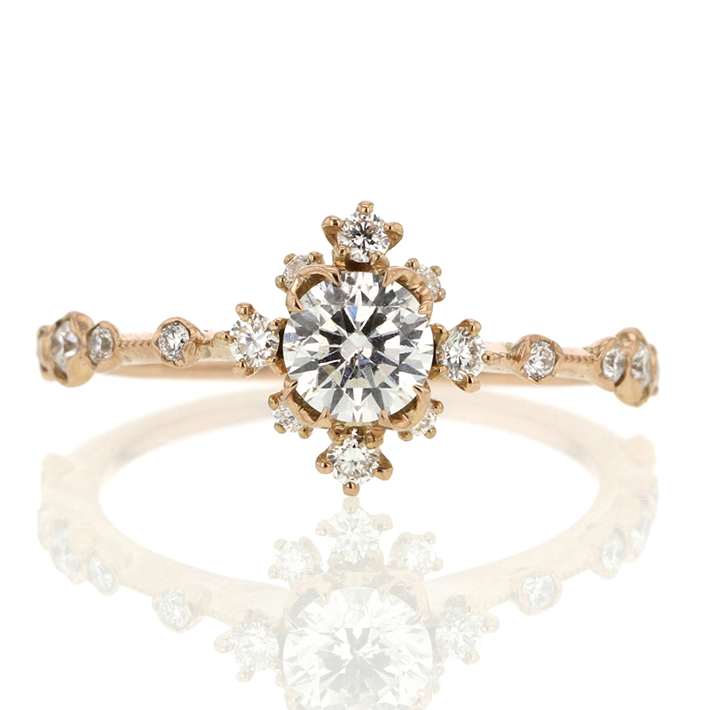 Diamond Snowflake 18k Rose Gold Ring