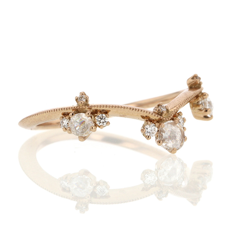Curved Diamond Crown 18k Rose Gold Ring