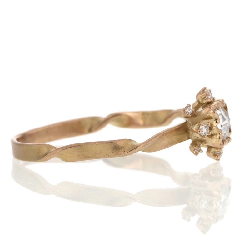 Rose Cut Diamond Twisted Band Ring