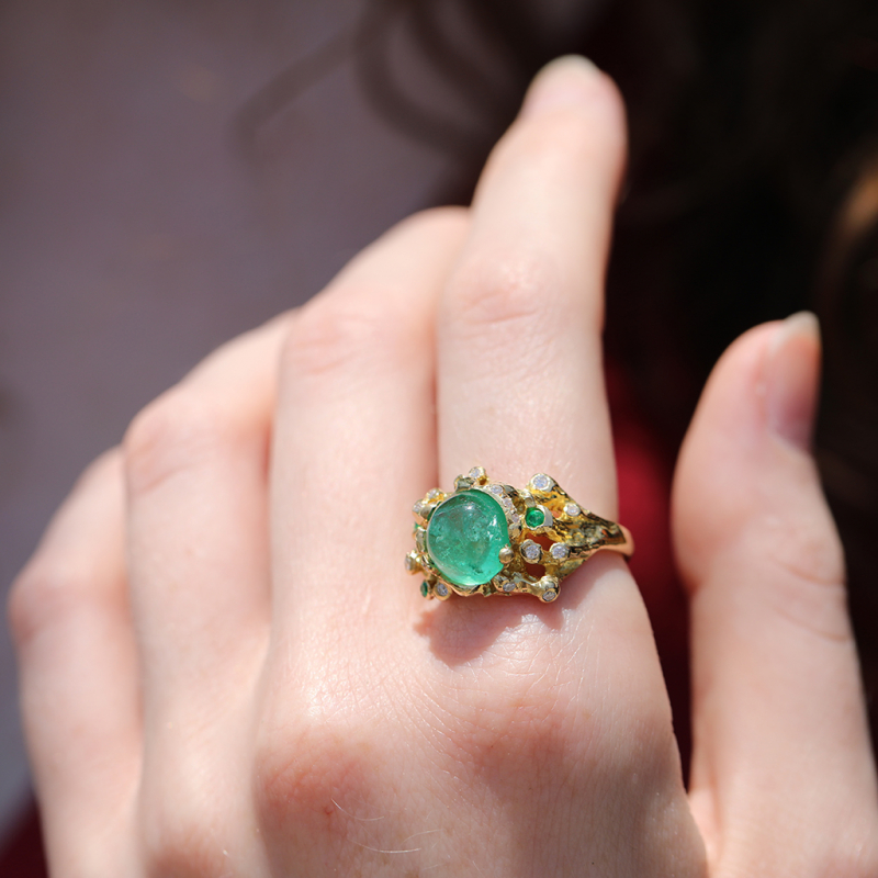 Emerald Ring with Diamond and Emerald Accents