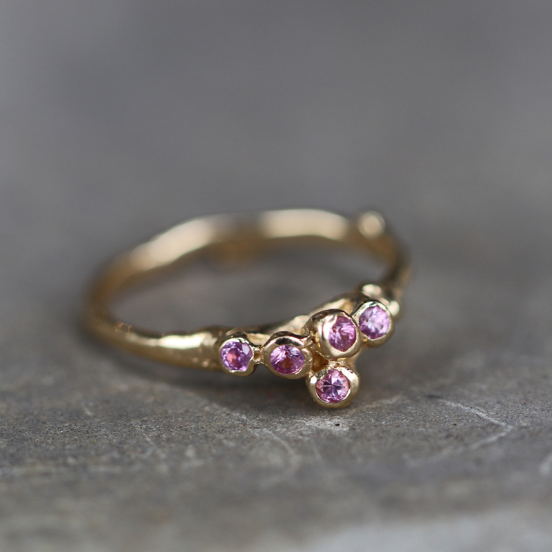 Pink Sapphire Gold Sea Anemone Ring