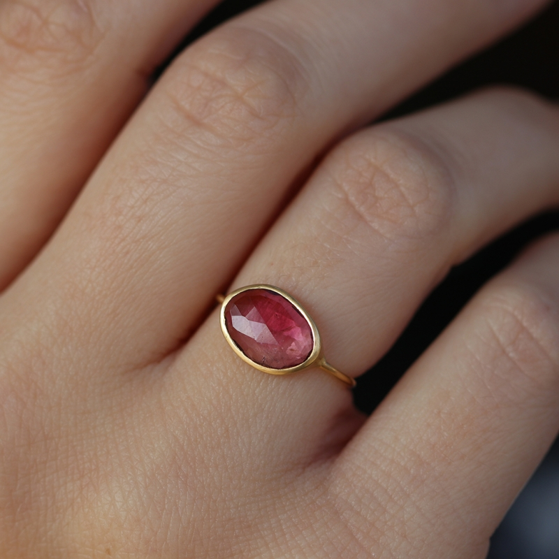 Pink Tourmaline 18k Gold Ring