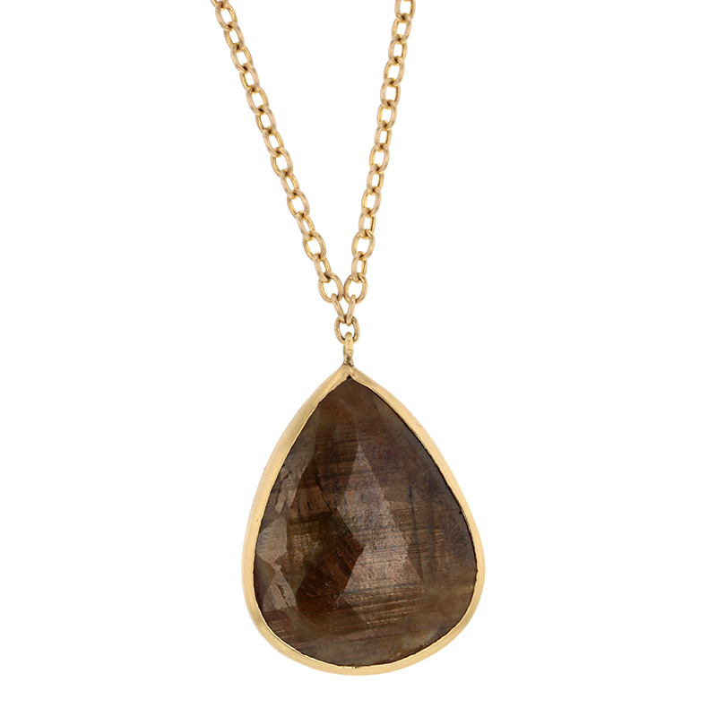 Brown Sapphire Teardrop Necklace