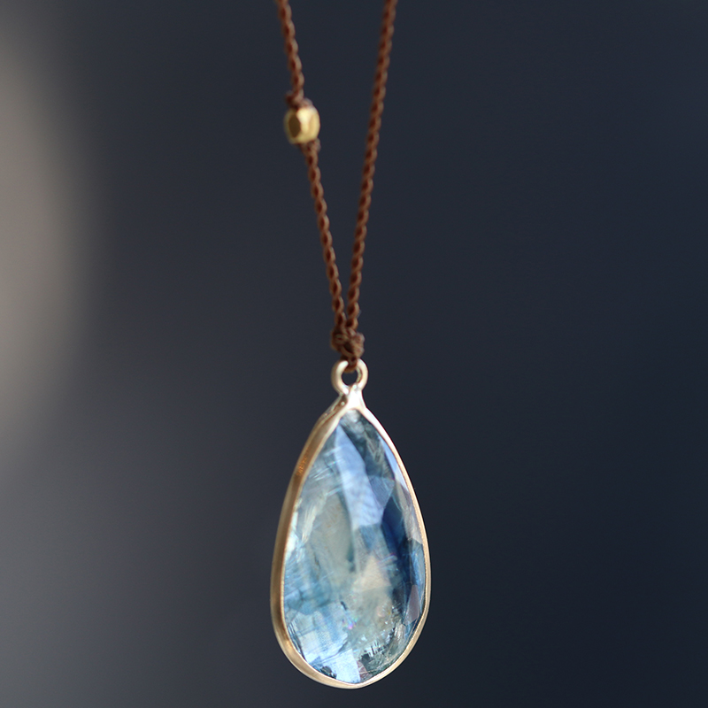 Teardrop Kyanite Gold Necklace