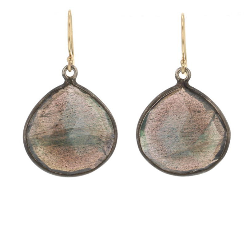 Labradorite Oxidized Asymmetrical Earrings
