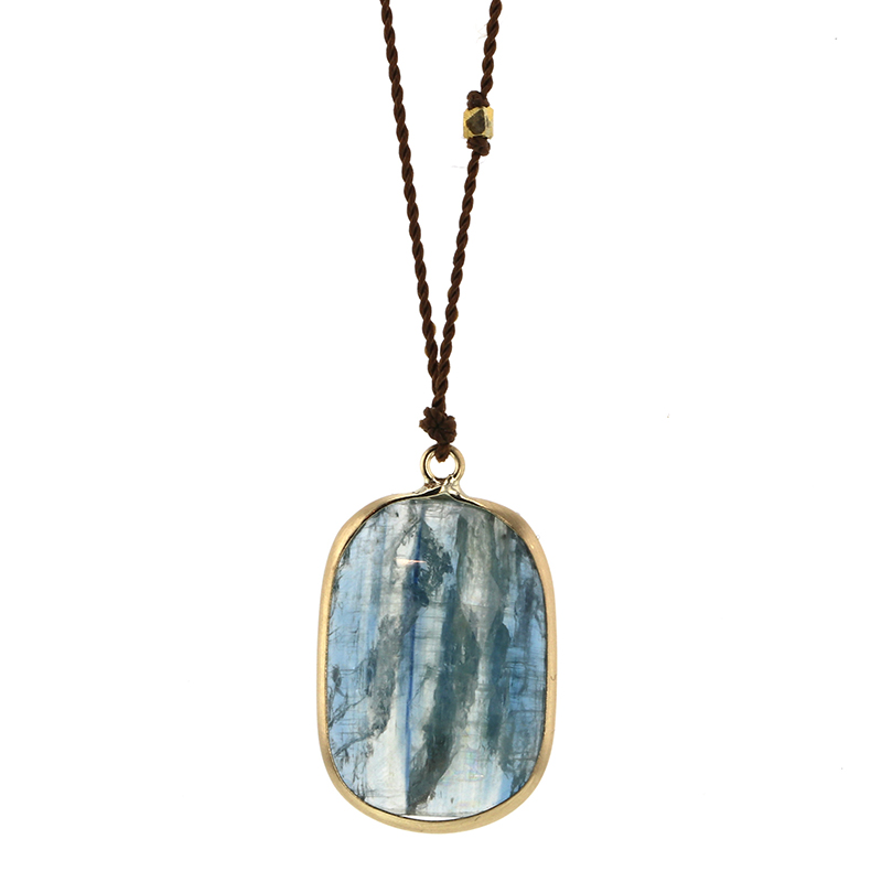 Kyanite Gold Drop Nylon Cord Necklace
