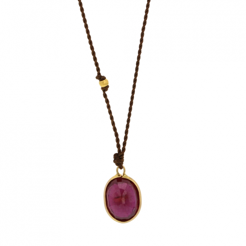 Small Ruby 18k Nylon Cord Necklace