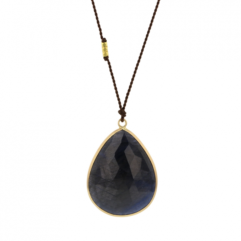 Large Faceted Sapphire 14k Gold Necklace on Nylon Cord