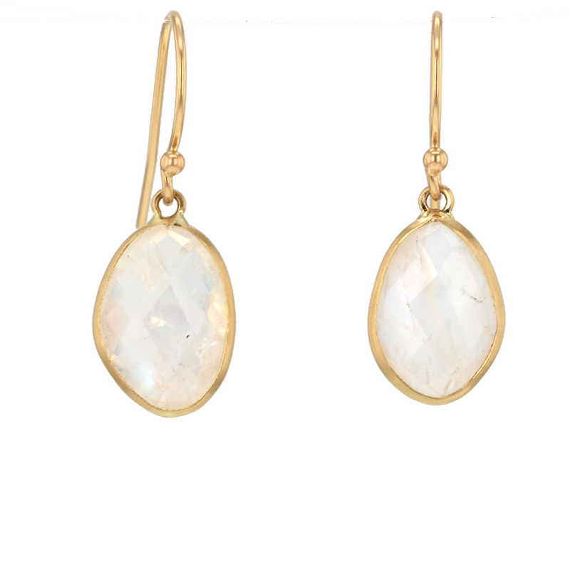 Rainbow Moonstone 14k Bezel Earrings