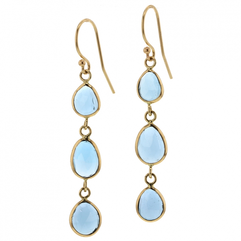 Triple London Blue Topaz Gold Earrings