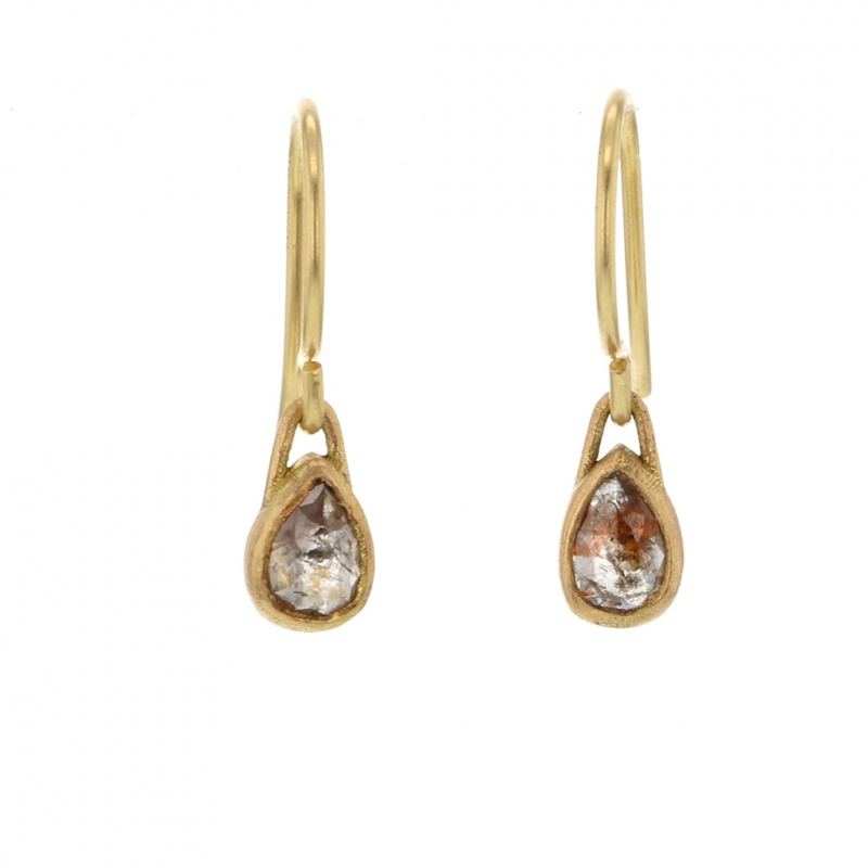 Small Teardrop Rose Cut Diamond Gold Drop Earrings