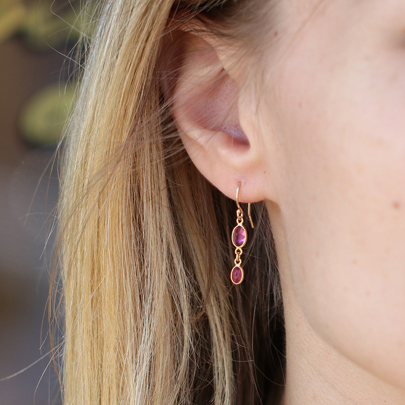 Pink Tourmaline and Ruby Double Drop Gold Earrings