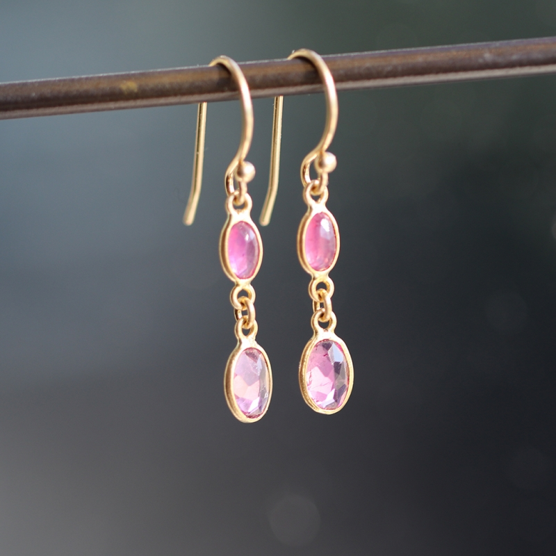 Tourmaline and Ruby 18k Gold Drop Earrings