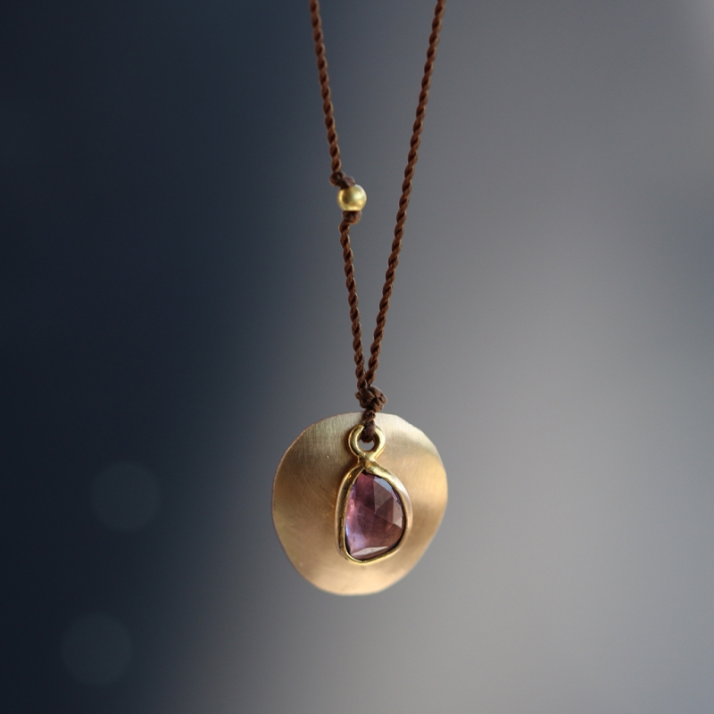 Sapphire 18k Gold Disc Necklace on Nylon Cord