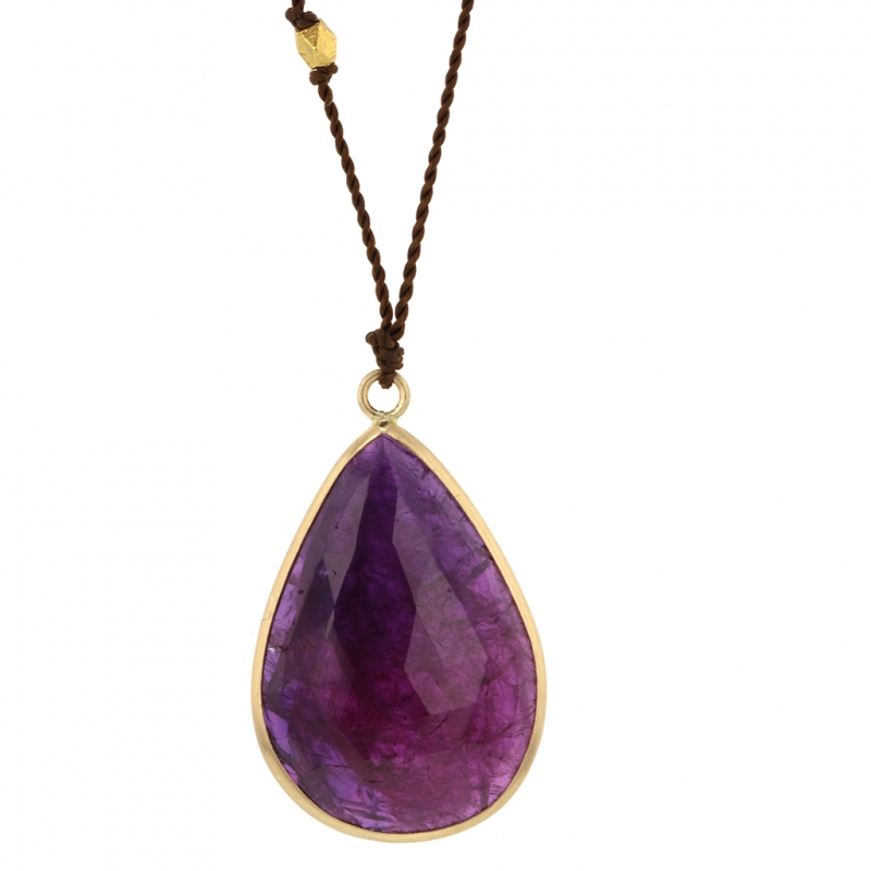 Ruby Teardrop 18k Yellow Gold Necklace