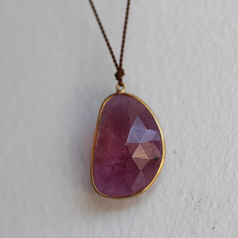 Pink Sapphire XL Freeform 18k Gold Necklace