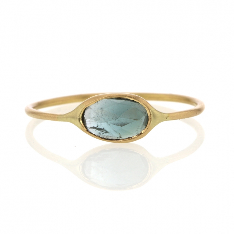 Blue Green Tourmaline 18k Gold Feminine Ring