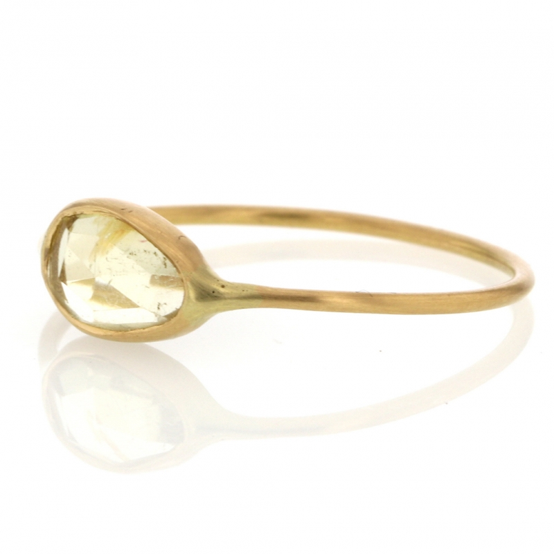Yellow Tourmaline Simple 18k Gold Ring