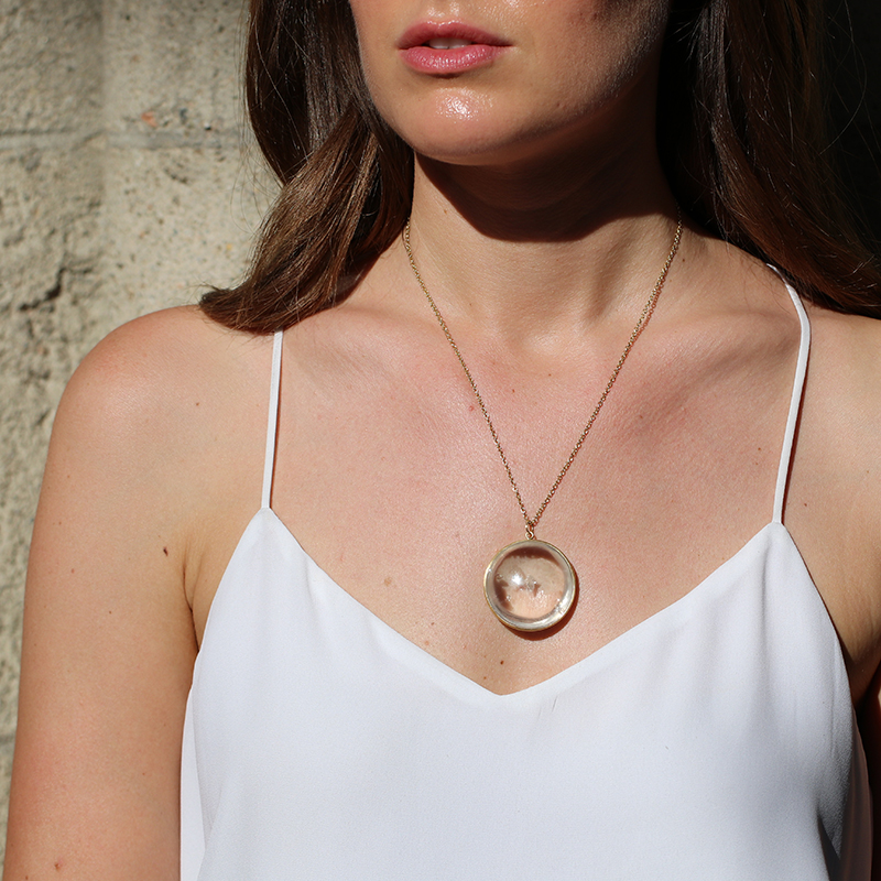 Quartz with Floating Quartz Pendant (Chain Sold Separately)