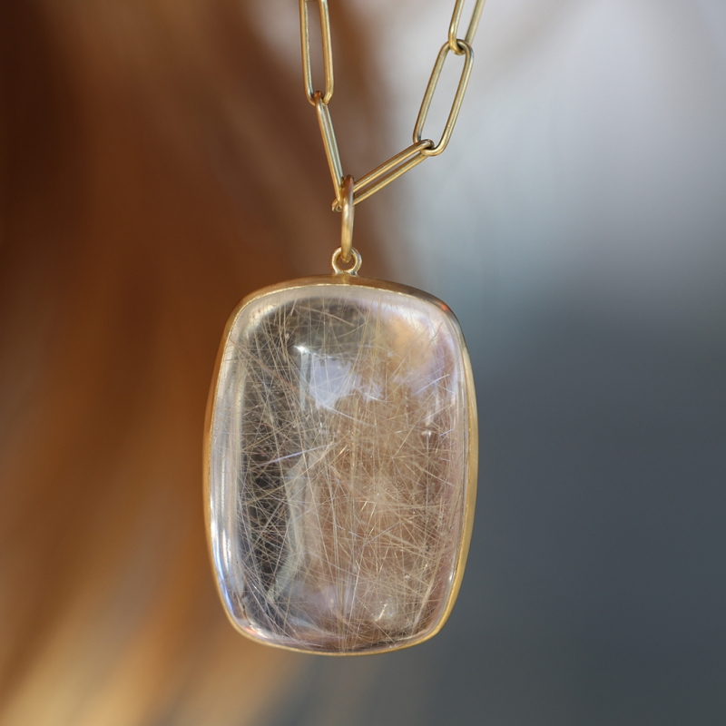 Golden Rutilated Quartz Cabachon Pendant (Chain Sold Separately)