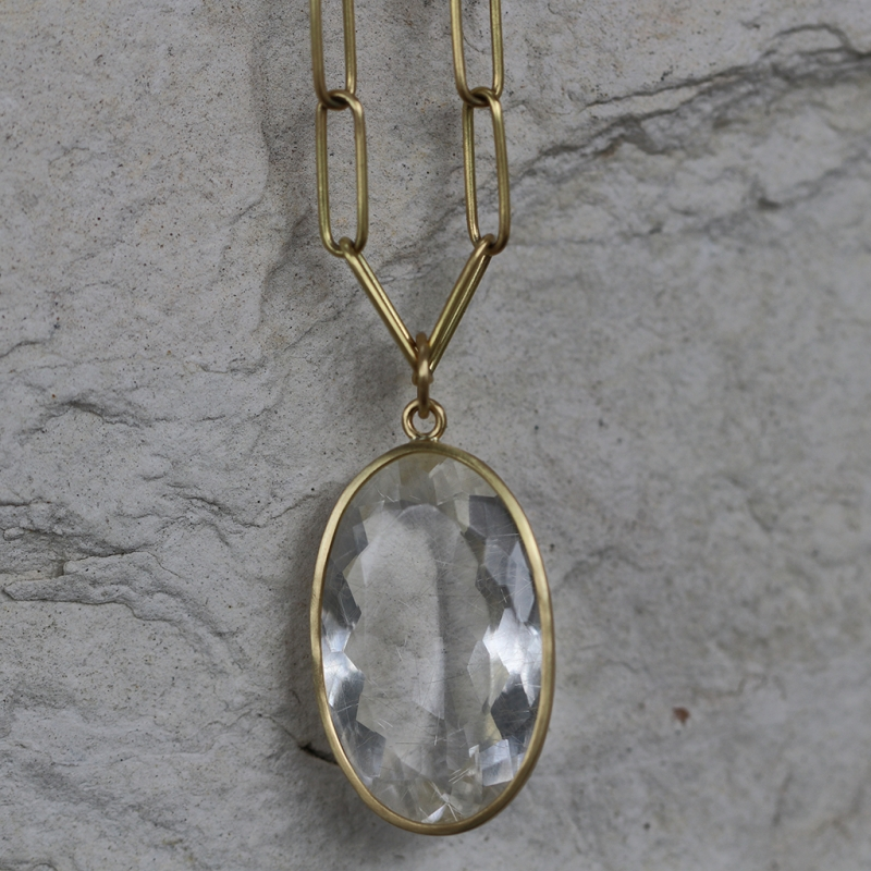 Golden Rutilated Quartz Faceted Pendant (Chain Sold Separately)