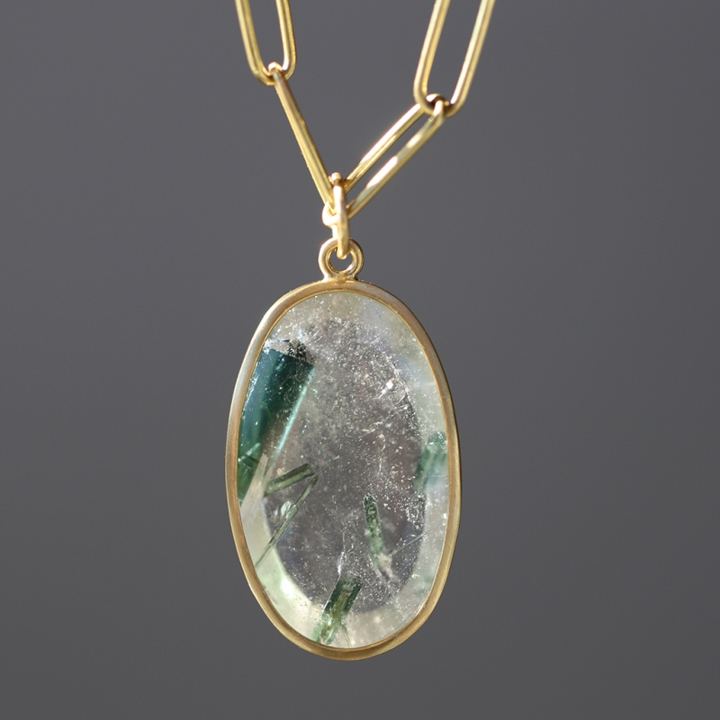 Green Tourmaline Floating in Quartz Pendant (Chain Sold Separate