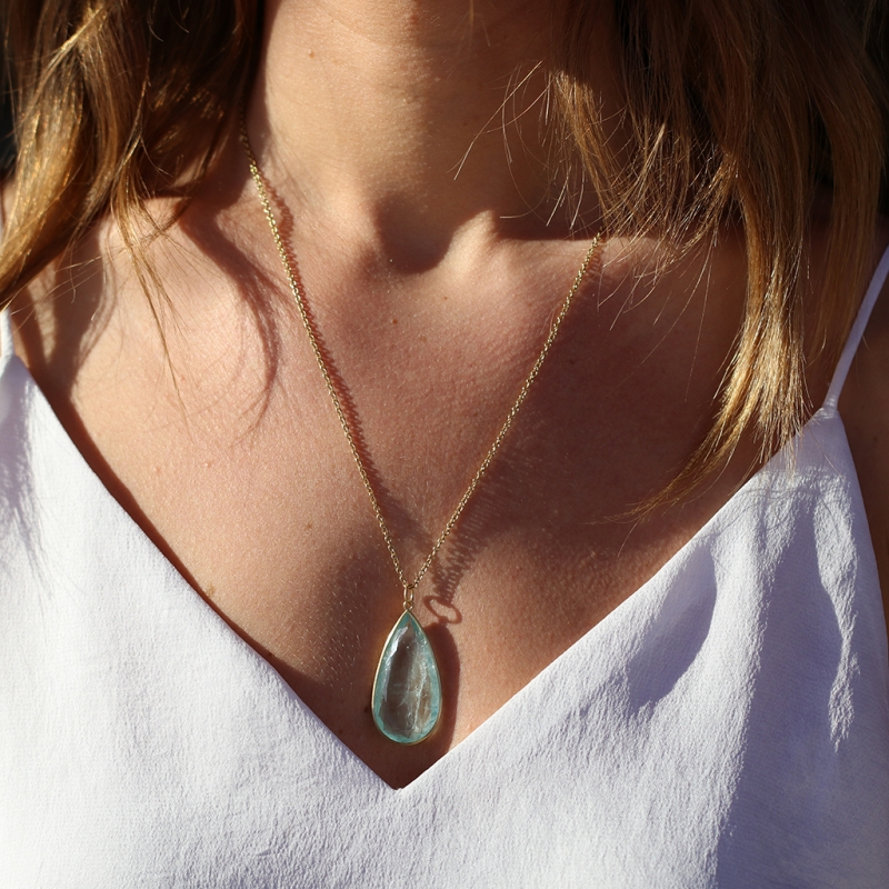 Teardrop 18k Gold Aquamarine Pendant (Chain Sold Separately)