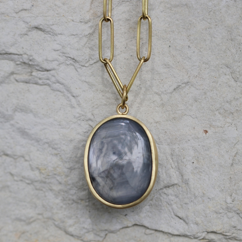 Light Blue Gray Star Sapphire Pendant (Chain Sold Separately)