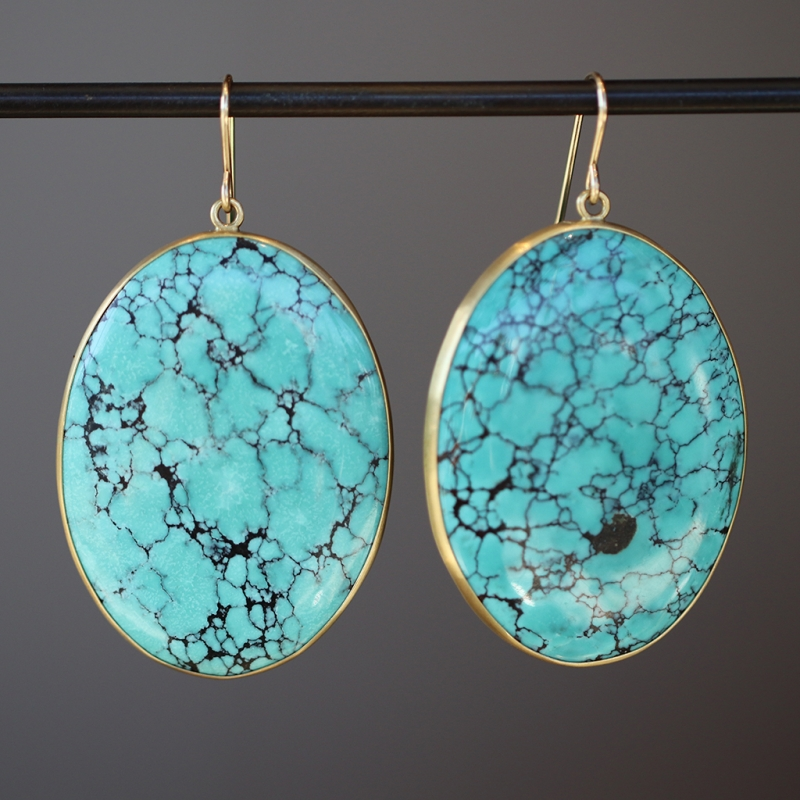 Large Oval Turquoise 18k Gold Earrings