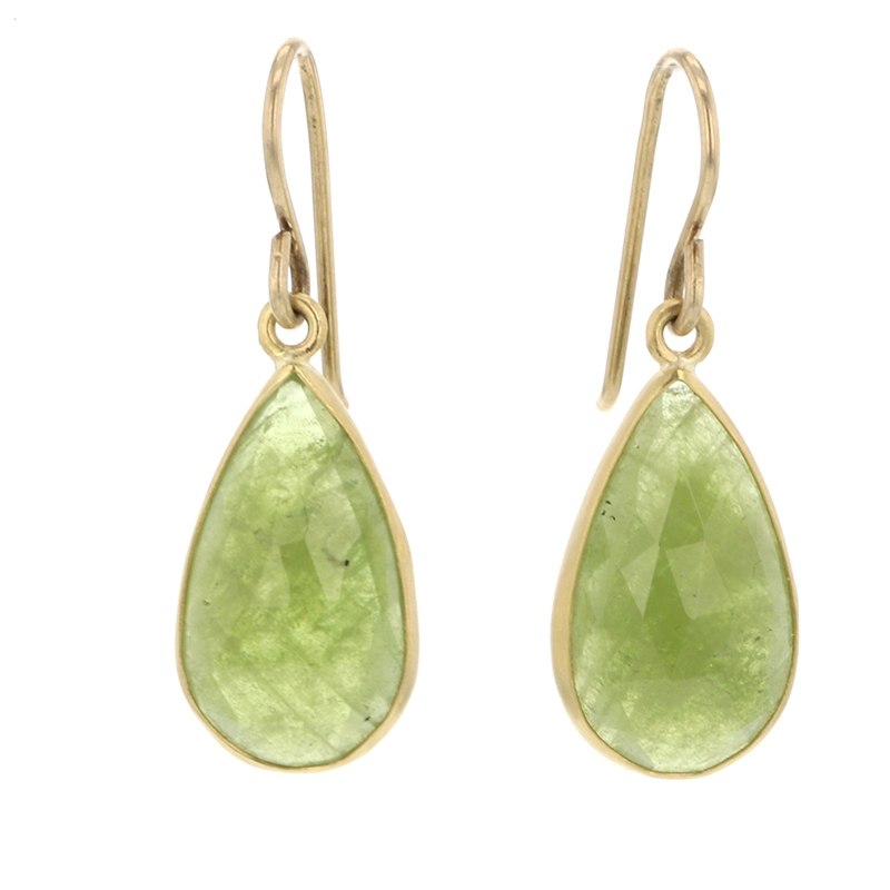 Sage Green Sapphire Earrings