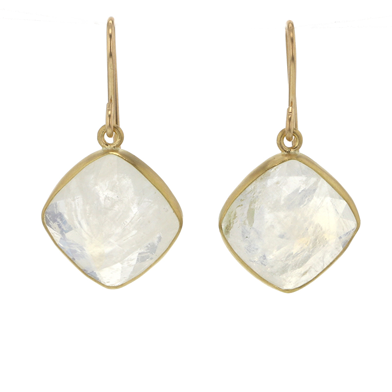 Indian Moonstone Gold Earrings