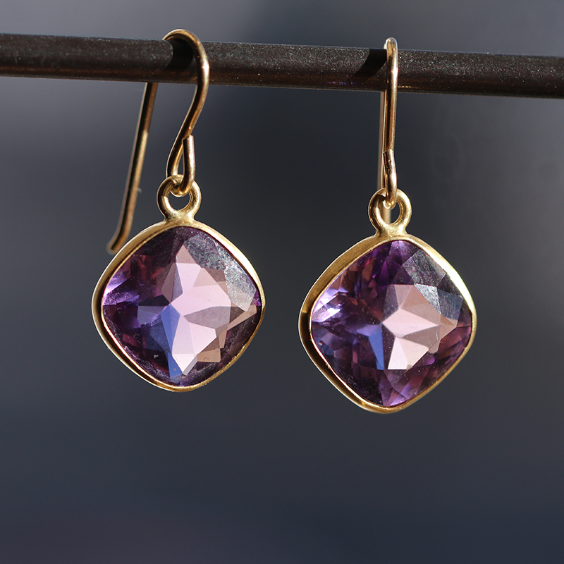 Amethyst Faceted Gold Earrings