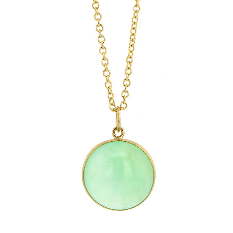 Chrysoprase 18k Gold Pendant (Chain Sold Separately)